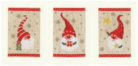 Set of 3 Christmas Gnomes Counted Cross Stitch Kit Greeting Cards by Vervaco