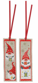 Set of 2 Christmas Gnomes Counted Cross Stitch Kit Bookmarks by Vervaco