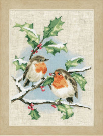 Winter Robins Counted Cross Stitch Kit by Vervaco