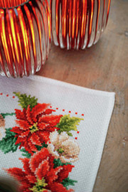 Christmas Flowers Table Runner Counted Cross Stitch Kit by Vervaco