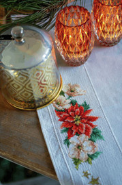 Christmas Flowers Tablecloth Counted Cross Stitch Kit by Vervaco