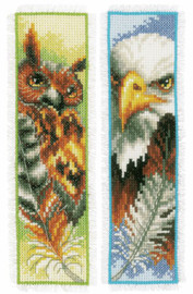 Set of 2 Eagle & Owl Counted Cross Stitch Kit Bookmark by Vervaco