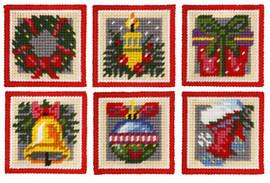 Christmas Motifs Needle point  Coasters Set of 6