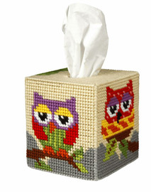 Tissue Box Cover  Owl Needlepoint Kit by Orchidea