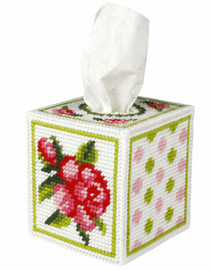 Tissue Box Cover Rose Needlepoint kit By Orchidea