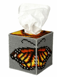 Tissue Box Cover Butterfly Needle Point Kit by Orchidea