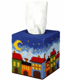 Tissue Box Cover Night City Needle Point Kit By Orchidea