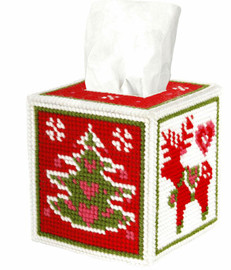 Tissue Box Cover Christmas Motifs Needle point Kit by Orchidea