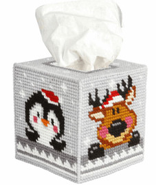 Tissue Box Cover Winter Pets Needle point Kit by Orchidea