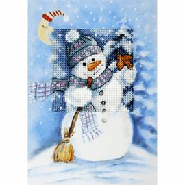 Snowman Cross stitch Card Kit by Orchidea