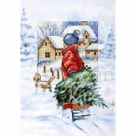 Tree on a sledge Cross Stitch Card Kit by Orchidea