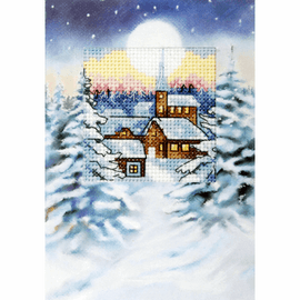 Silent Night Cross Stitch Card kit by Orchidea