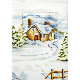 House in Winter Cross Stitch Card Kit by Orchidea