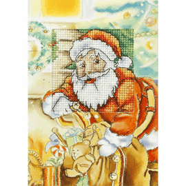 Santa Claus with Gifts Cross Stitch Card Kit by Orchidea
