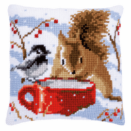 Squirrel and Tit Chunky Cross stitch kit by Vervaco