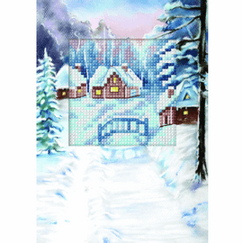 Winter Landscape Cross Stitch Card kit By Orchidea