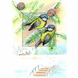 Blue Tits Cross Stitch Card Kit by Orchidea
