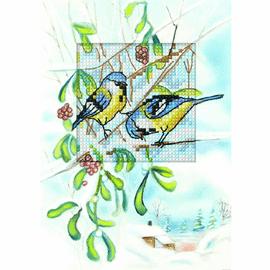 Blue Tits II Cross Stitch Card Kit by Orchidea