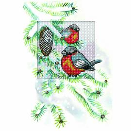 BullFinch Cross stitch Card Kit by Orchidea