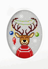 Reindeer Cross Stitch Card Kit By Orchidea