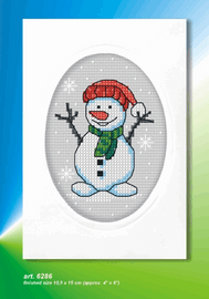 Cute Snowman Cross Stitch Card Kit by Orchidea