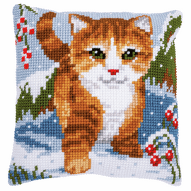 Cat in the Snow Chunky cross stitch kit Cushion by Vervaco