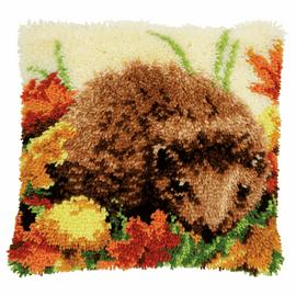 Hedgehog latch hook kit cushion by Vervaco