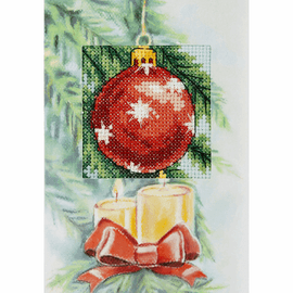 Red Bauble Cross Stitch Card Kit by Orchidea