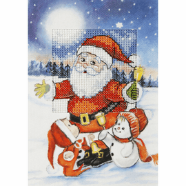 Santa Claus Cross Stitch Card Kit by Orchidea