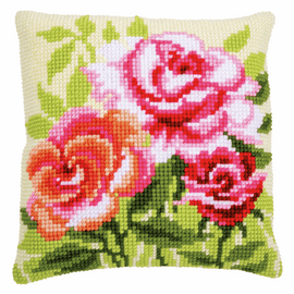 Roses chunky cross stitch cushion kit by Vervaco