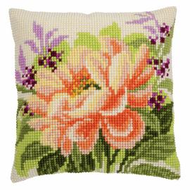 Peony  cross stitch cushion kit by Vervaco