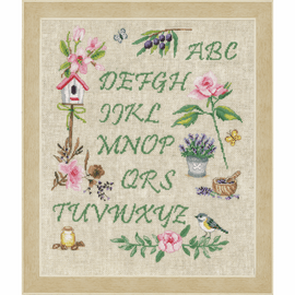 Garden Alphabet counted cross stitch kit by Vervaco