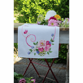 Classic Flowers Bouquet counted cross stitch kit table runner by Vervaco