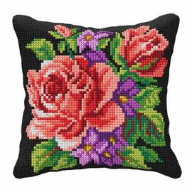 Roses & Violets Cross Stitch Large Cushion Kit