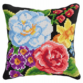 Flowers Cross Stitch Cushion Kit (Quickpoint Pillow Cover Kit) by Orchidea