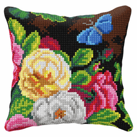 Flowers  & Butterfly Cross Stitch Cushion Kit (Quickpoint Pillow Cover Kit)