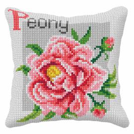 Peony Cross Stitch Large Cushion Kit by Orchidea