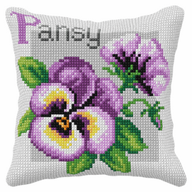Pansy Cross Stitch Large Cushion Kit by Orchedia
