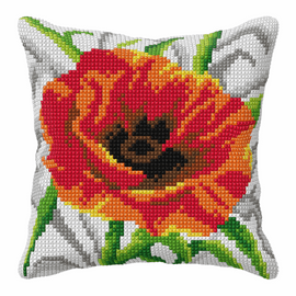 Poppy Large Cushion Cross Stitch Kit By Orchidea