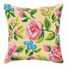 Roses On Beige Background Large Cushion Cross Stitch Kit By Orchidea