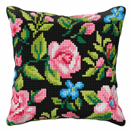 Roses On Black Background Large Cushion Cross Stitch Kit By Orchidea