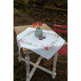 Flowers & Butterflies Tablecloth Embroidery Kit By Vervaco