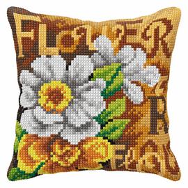 White Flowers Cushion Large Cushion Cross Stitch Kit By Orchidea