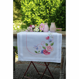 Flowers & Butterflies Runner Embroidery Kit By Vervaco