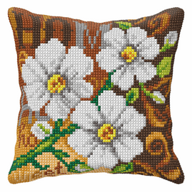 White Flower Large Cushion Cross Stitch Kit By Orchidea