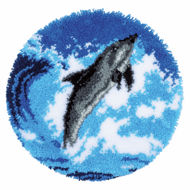 Dolphin Shaped Rug  Latch Hook Kit By Vervaco