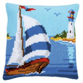 Sailboat Cross Stitch Cushion KIt By Vervaco