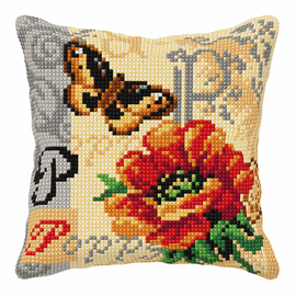 Poppy And Butterfly Large Cushion Cross Stitch Kit By Orchidea