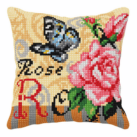 Rose And Butterfly Large Cushion Cross Stitch Kit By Orchidea