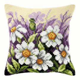 White Flowers In Meadow Large Cushion Cross Stitch Kit By Orchidea